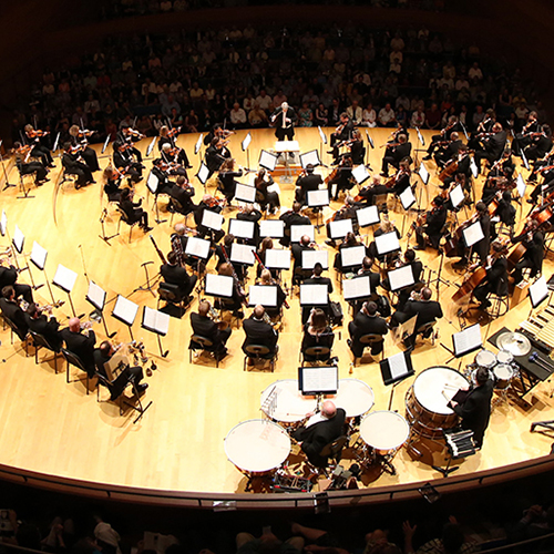 Birds eye view of the Kansas City Symphony on stage in Helzberg Hall. ODE to JOY: BEETHOVEN'S NINTH. Kansas City Symphony. June 19-21