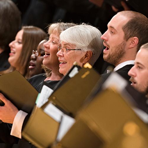 People singing.  Beethoven's Mass in C. Kansas City Symphony Chorus, Kansas City Symphony. February 28 - March 1.