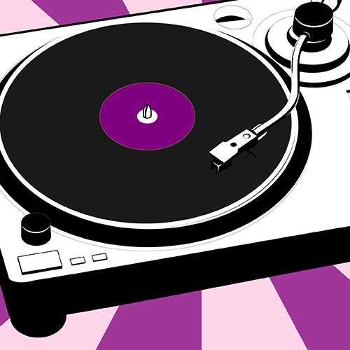 Illustration of a black and white turntable with a purple background