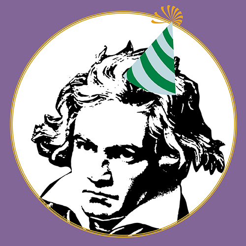 Black and white illustration of Beethoven wearing a green and white striped party hat
