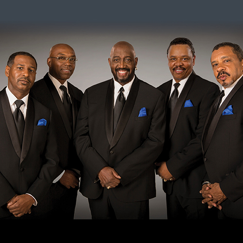 Photo of The Temptations Music Group, 5 men in black formal suits