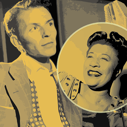 Photo of singer Ella Fitzgerald, smiling, in a circular frame overlaying a photo of singer Frank Sinatra.