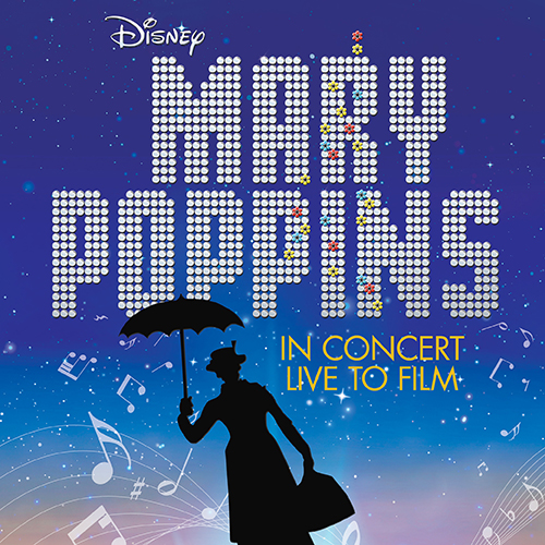 Mary Poppins floating up into the air with an umbrella with Mary Poppins Logo and Disney Logo
