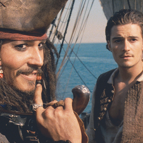 Image of Johnny Depp and Orlando Bloom in character for the movie Pirates of the Caribbean: Curse of the Black Pearl
